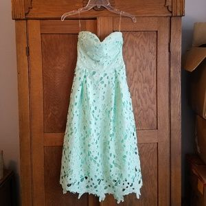 Teal strapless mid length dress from Francesca's